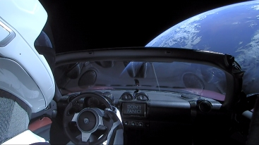 Don't panic, Starman!! Note replica of mini Roadster on dashboard
